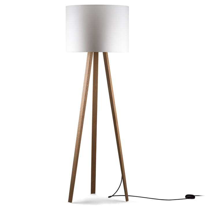 Luca Stand High gulvlampe fra Maigrau lavet af naturligt egetræ i hvidt