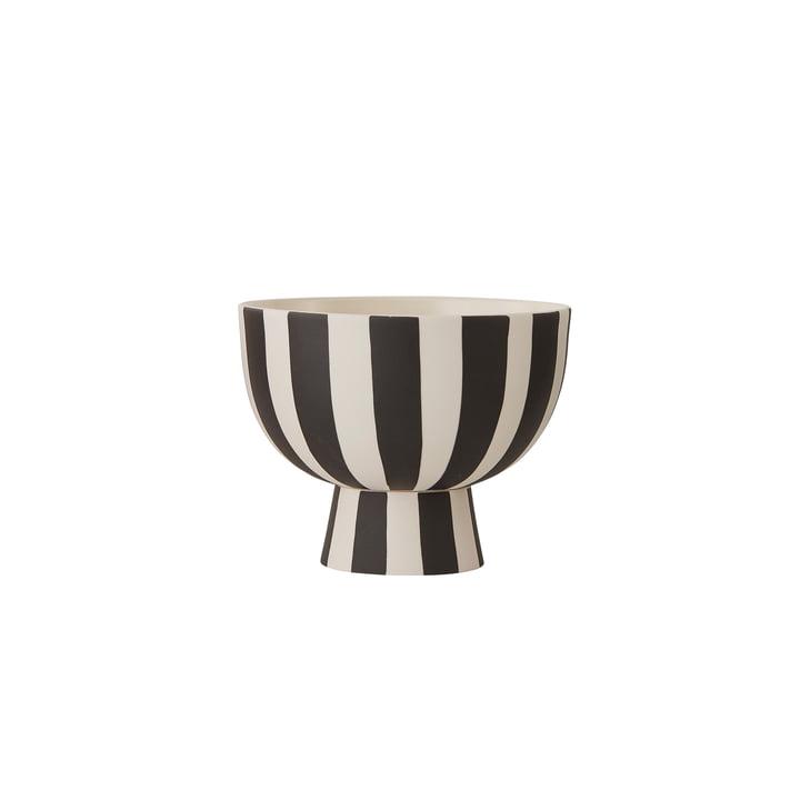 Toppu skål Ø 12,6 x H 10 cm fra OYOY i hvid / sort