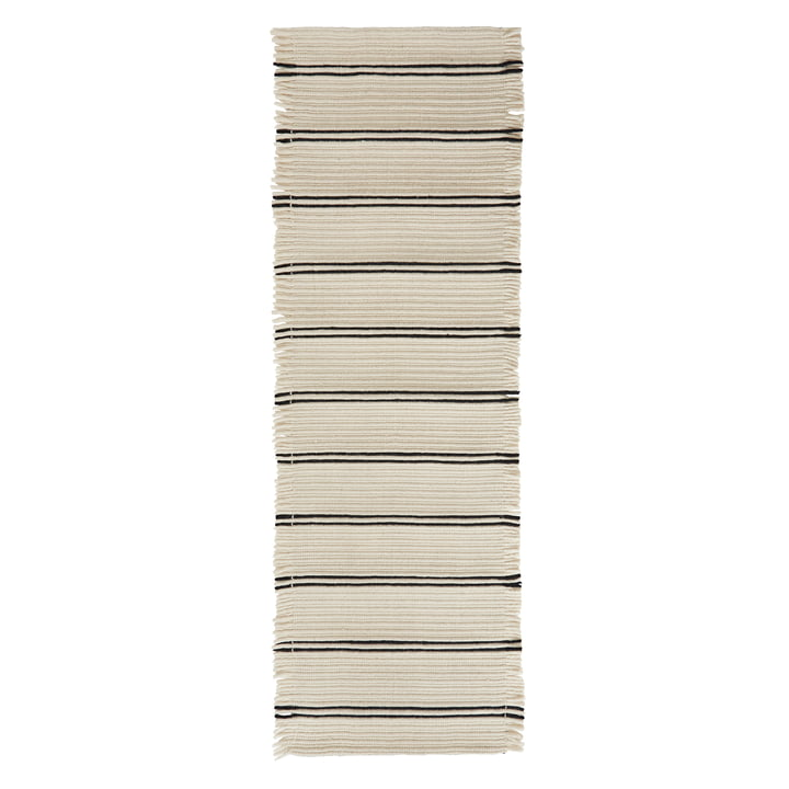 Putki tæppe 250 x 73 cm fra OYOY i råhvid / sort