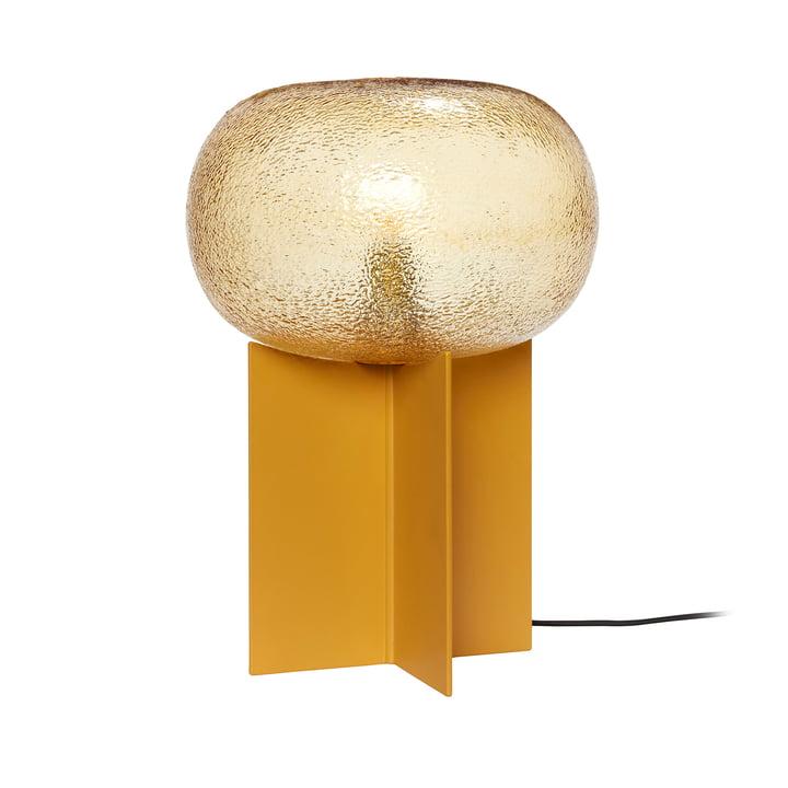 Glas bordlampe fra Hübsch Interior i rav