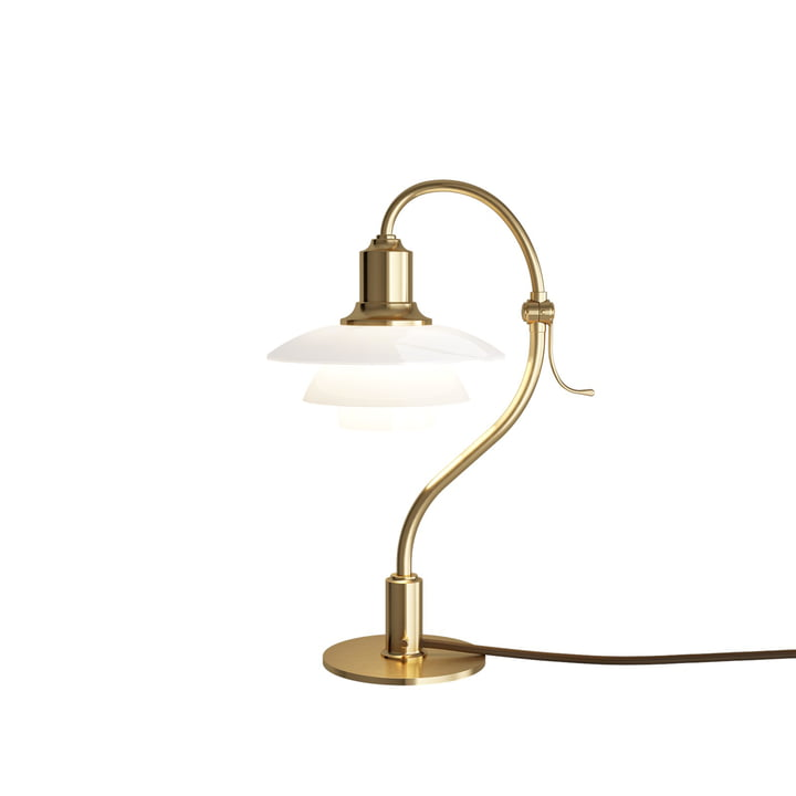 PH 2/2 Spørgsmålstegn bordlampe af Louis Poulsen i blank / messing / opalglas