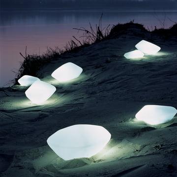 Oluce Stones udendørslampe i hvid