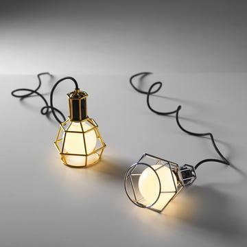 Design House Stockholm – Work Lamp, sølv, guld – med lys i