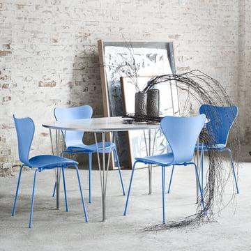 Serie 7 stol fra Fritz Hansen, Trieste Blue