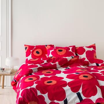 Marimekko – Unikko dyne- og pudebetræk med rødt og hvidt blomsterprint