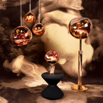 Tom Dixon – Melt lamper i kobber – gulvlampe – bordlampe – pendel
