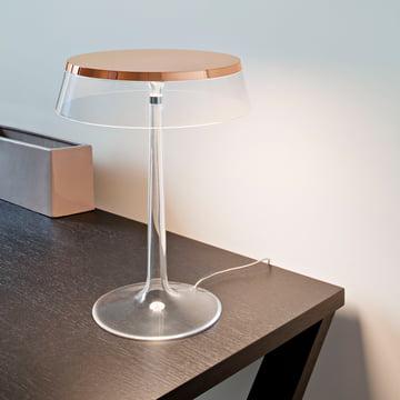 Bon Jour bordlampen fra Flos i kobber, krone gennemsigtig