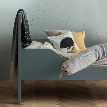 ferm LIVING – pude med pindsvin, 30 x 30 cm, mintgrøn