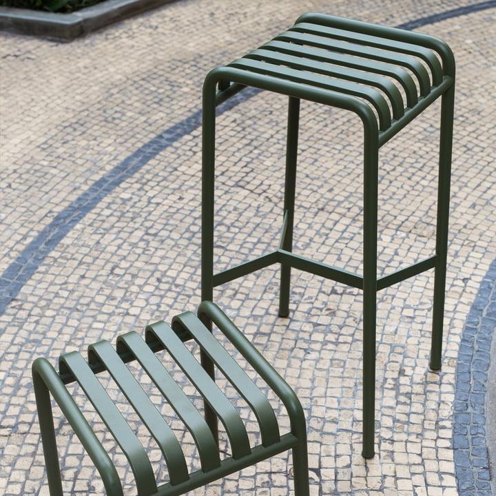 Palissade skammel og barstol fra Hay