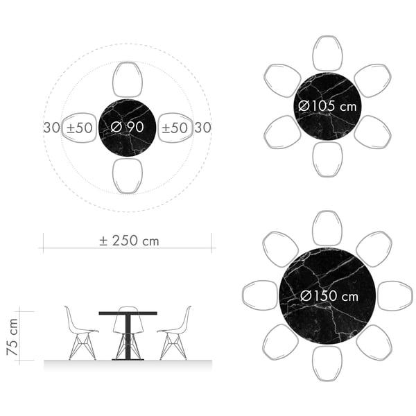 Spiseborde grafisk 3 - rund borddiameter