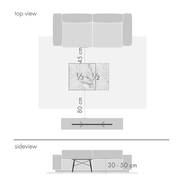 Sofabord grafisk 2 - højde og størrelse